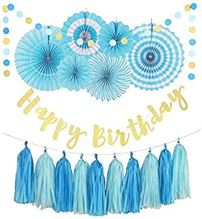 Birthday Decorations- Blue and Gold Birthday Party Decorations- Includes Happy Birthday Banner, 6 Paper Fans, 10 Tassels and 32 Piece Round Paper Garland- Perfect for Any Birthday Party!