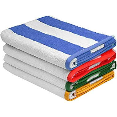 Premium Quality Cabana Beach Towels - Pack of 4 Cabana Stripe Pool Towels (30 x 60 Inches) - Multi Color Towels with High Absorbency by Utopia Towels