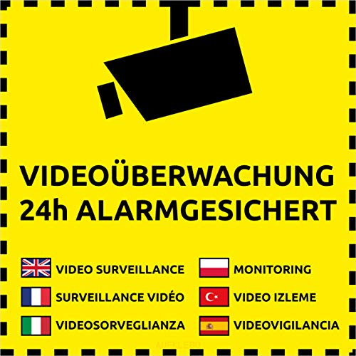 10 Videoüberwachung Aufkleber Videoüberwachung Gelb (10 Stück) 105 x 105 mm vorgestanzt Videoüberwacht Aufkleber mehrsprachig Schild überkleben Sticker Kameraüberwachung Hinweisschild Videoüberwacht
