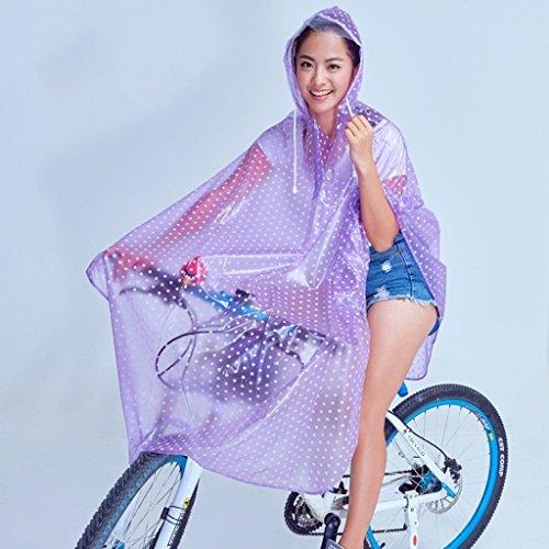 Vestes anti-pluie QFF Transparent Raincoat Male Student Bicyclette à l'extérieur à l'intérieur de la Rue Ms Poncho (Couleur : Violet, Taille : XXL)