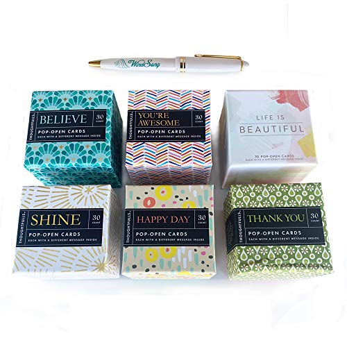 Thoughtfulls 180 Pop-Open Inspirational Cards: BELIEVE, YOU'RE AWESOME, LIFE IS BEAUTIFUL, SHINE, HAPPY DAY, THANK YOU 6-Pack + FREE WS Pen