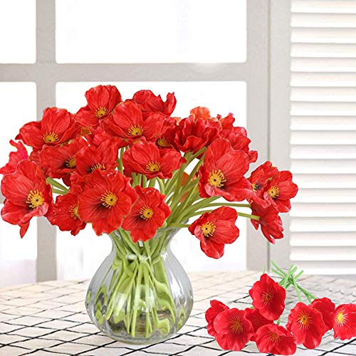 MHMJON 20PCS Artificial Poppies Flowers, High Quaulity PU Fake Flowers for Indoor Outdoor Home Kitchen Office DIY Hotel Table Centerpieces Floor Garden Wedding Decor Red