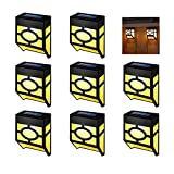 IKER Outdoor Wall Light Solar Fence Lights Led Waterproof Lighting for Deck, Fence, Patio, Front Door, Stair, Landscape, Yard and Driveway Path (8 Pack)