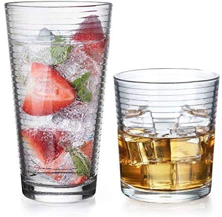Gift Essentials Glassware Set - Set of 8-Piece Tumbler and Rocks Glass Set - Includes 4 Cooler Glasses (17oz) and 4 Rocks Glasses (13oz), - for Mixed Drinks, Water, Juice, beer, Wine, Excellent Gift