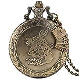 Reloj de Bolsillo clásico de Cuarzo de Bronce para Hombres, delicados Relojes de Bolsillo con...