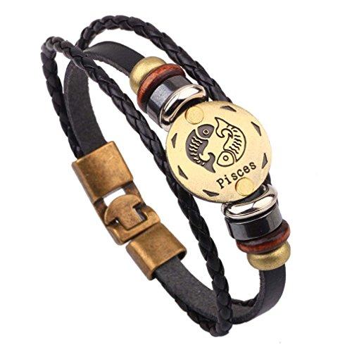 Damen Herren Unisex Sternzeichen Armband Vintage Lederarmband Surferarmband Armreif Leder Geflochten Seil mit Perlen Fische