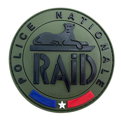Police Nationale Raid Emblème SWAT Français Cosplay Airsoft PVC Team Patch (Vert)