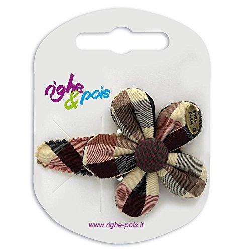 132-802 – Pince à cheveux Clic Clac 5 cm recouverte de fleur shabby tissu tartan 5 cm