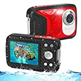 Underwater Digital Camera Full HD 1080P Waterproof Camera 2.8' Large Screen 16MP Kids Video Camera with 1050MAH Rechargeable Battery, Point and Shoot Camera for Snorkeling,Swimming,Travel
