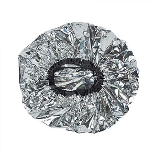 Lurrose 6 Stücke Wärmebehandlung Kappe Badekappe Aluminiumfolie Haarkappe Nacht Hut Kopfhaube für Dampfendes Haar Styling Und Behandlung (Silber)