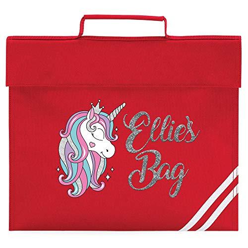 Girls Glitter Unicorn Bookbag - School Back to School Personalised for School Girl - Silver Glitter Unicorn Mermaid Pink 120, Classic Red