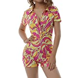 Short Sleeve Jumpsuit for Women Bodycon Sexy V Neck Buttons Rompers Shorts Knitted One Piece Bodysuit Overall( Print Red Yellow,M)