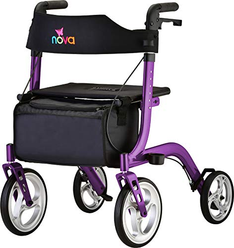"""NOVA Medical Products Express Rollator Walker, Large 10"""" & 8"""" Wheels, Compact Foldable & Free Standing, Easy to Fold, Lift & Carry, Comes with Cane Holder, Purple"""