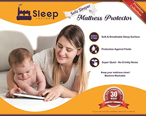 """Sleep Factory - Mattress & Sofa Bed Sleeper Protector   Total Safety from Spillage, Hypoallergenic, Waterproof, Premium 100% Jersey Cotton Top, Full Size (54x80), 6"""" Depth, White"""