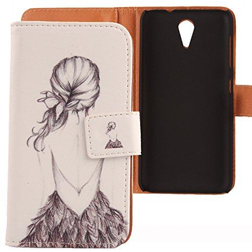 Lankashi PU Flip Leder Tasche Hülle Hülle Cover Schutz Handy Etui Skin Für HTC Desire 620 620G / 820 Mini Back Girl Design