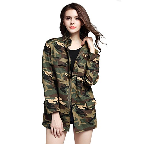 ACHIEWELL Womens Camou Jacket Zipper Casual Military Outwear Lightweight Coat