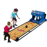 SanQing Electrónica Bolos Juego, Juego Familiar para 1-2 Jugadores, Juego de Bolos para niños y Adultos-electrónico de la Placa goleador Efectos de Sonido Luces LED-6,6 pies Plegables