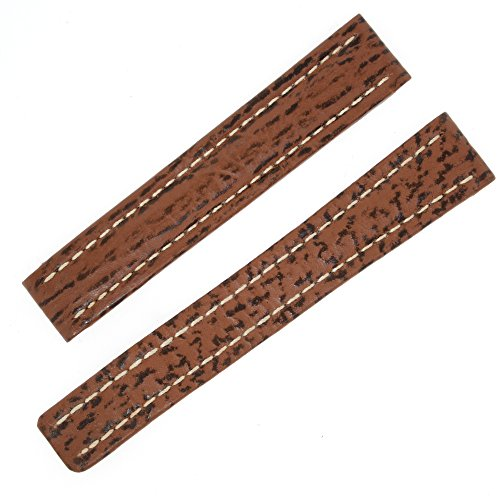 Breitling 15-14 mm Genuine Brown Shark Leather Watch Band