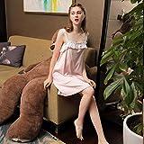 Sweet Lady Pijamas sin Mangas camisón Lindo Pijama camisón de algodón de Verano Casual Pijamas de Encaje Servicio a Domicilio Puro Rosa-Rosa_S