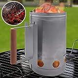 Encendedor de carbón para barbacoa o chimenea   Cuerpo de acero galvanizado y resistente al calor con asa de securidad Ø 17 cm   BBQ, Barbacoa rápida, carbón vegetal, Parilla