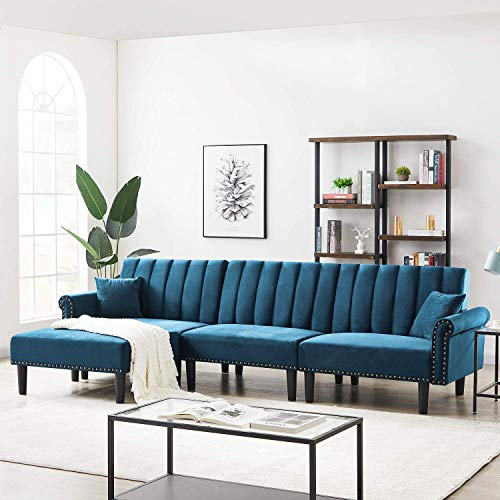 Recaceik Convertible Sectional Sofa, Modern Velvet Fabric Classic Upholstered Couches 4-Seater with Super Soft Cushion Futon Sofa Bed for Living Room(Light Blue), Sky Blue