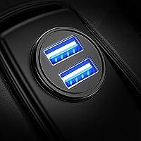 DIVI Cargador de Coche con Doble USB Puerto Cargador Móvil 5V/4.8A/24W, Adaptador Automóvil con Fast Charging Mini Small Size para Phone X / 8/8 Plus / 7, Galaxy S9/S9 Plus/S8/S7/S6 by (Negro)