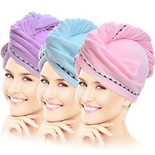 Vinker 3 Pack Hair Towel Wrap, Microfiber Quick Drying Hair Towels, Bath Dryer Caps, Bath Hair Drying Towel, Quick Dryer Hat for Women Girls
