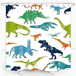 7. ZXMBF Colorful Kids Cartoon Dinosaur Shower Curtain