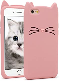 for iPhone 6 Case, iPhone 6S Case, Fashion Cute 3D Cartoon Whisker Cat Kitty Soft Silicone Gel Rubber Bumper Case Cover for iPhone 6 / 6S (Whisker Cat Pink)