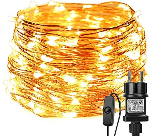 LE 22M LED Lichterkette Draht aus Kupferdraht, 200 LEDs, Wasserdicht IP65, Strombetrieben mit Stecker, Ideale Weihnachtsbeleuchtung für Außen, Innen, Zimmer, Party, Hochzeit Deko usw. Warmweiß