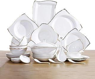 YANJ Ensemble de Vaisselle en céramique avec 48 pièces, Bol/Plat/Pot à Soupe/cuillère | Ensembles de dîner en Porcelaine ...
