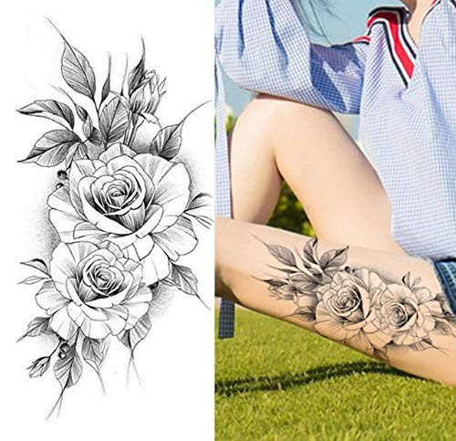 EROSPA® Tattoo-Bogen temporär/Sticker - Rosen Flowers Blume Blüte - Wasserfest - 19 x 9 cm
