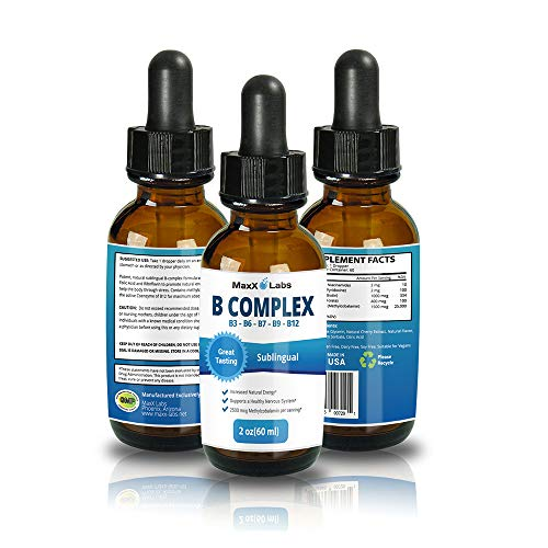 New B Complex Liquid B12 Sublingual Vitamin - Best for Healthy Hair Skin Nails, Increased Energy, Water Soluble Sublingual B12 Absorbs Faster Than Capsules, Natural, Vegan, Gluten-Free 2oz Supplement