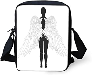 Messenger Bag,Unisex,Back View of an Angel Woman Archaic Sacred Creatures Heavenly Print.9x8x2inches