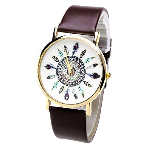 Damen Lässig Armbanduhr Feder Blatt Indianerstamm-Stil Quarzuhr aus Leichtmetall Lederarmband Analoge Uhr Watch,Kaffee