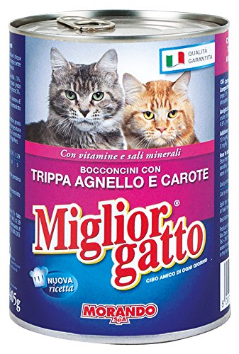 MIGLIOR GATTO Set 24 405 gr Humide Morceaux Tripe-Lamb -Carote Nourriture Pour chats