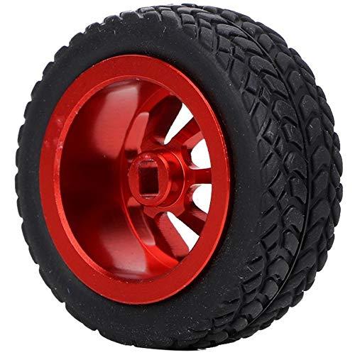 Zimaes Excelente 4 unids 1/28 RC Modelo de Juguete Neumático Neumático Accesorios Ajuste para WLTOYS K989-53 RC Piezas DE Coches DE Aluminio Cubiertas DE Aluminio Suave (Color : Red)