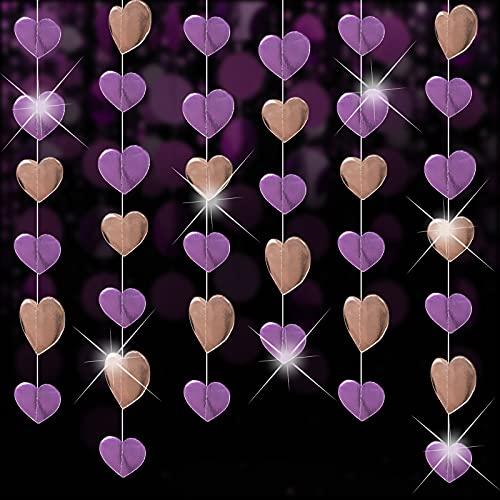 5 x 4m Papier Girlande Banner Hängende Deko Herz Girlande Glitzer Herzgirlanden Wimpelkette Garland Deckenhänger für Geburtstag Hochzeit Weihnachten Party Baby Shower (Rosegold & Rosa)