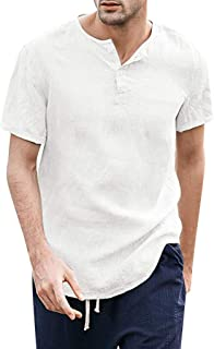 IHGTZS T-Shirts for Men, Summer Men's Cool Thin Breathable Solid Color Button Cotton Shirt Short Sleeve