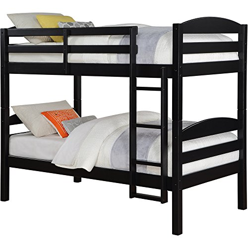 Better Homes&Gardens Leighton Twin Over Twin Wood Bunk Bed, Multiple Finishes (Black)