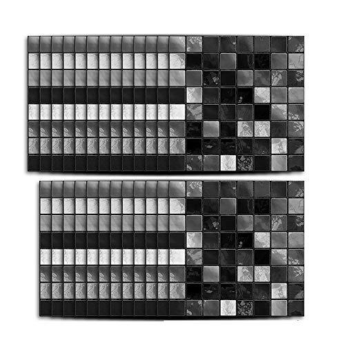 Hiser 25 Stück Küchenrückwand Fliesenaufkleber, Klassisch Mosaik Stil Wasserdicht Ölfest Stickerfliesen Marmor Deko Selbstklebende für Badezimmer Wohnzimmer Dekoration (Schwarz,15 x 15 cm)