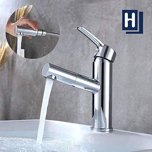 Homelody Wasserhahn Bad armatur mit herausziehbarer Messing Brause zum Haarewaschen Einhebelmischer Waschtischarmatur Badarmatur Warm Kalt Mischbatterie Chrom Waschbeckenarmatur für Badezimmer