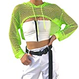 Smile Fish Women Casual Sexy 80s Costumes Concert Fishnet Neon Crop Hoodies T-Shirt (L, Neon-Green)