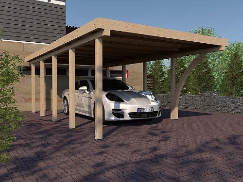 Carport Flachdach IMOLA IV 400 x 800 cm KVH mit Leimholzbogen Konstruktionsvollholz