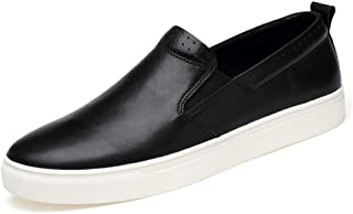 TRULAND Men's Genuine Leather Slip-On Fashion Sneaker Loafers