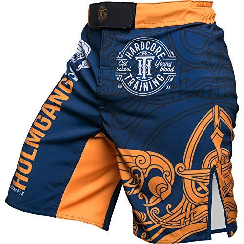 Hardcore Training Holmgang Fight Shorts Men's Boxing MMA Combat BJJ Grappling Fitness Muay Thai Kickboxing No Gi Blue Yellow