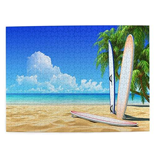 huagu Puzzle 500 Piezas Adultos,Rompecabezas,Tabla de Surf Vintage con Palmera en Playa Tropical en Verano,Juegos Educativos,Entretenimiento Adultos,Niños y Adolescentes,Divertido Regalo