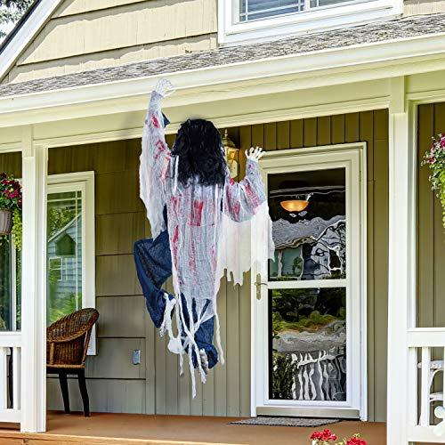 120 cm Decoración de Zombie Trepando de Halloween con Manchas de Sangre, Decoraciones Colgantes de Halloween Espantosas para la Casas Embrujadas