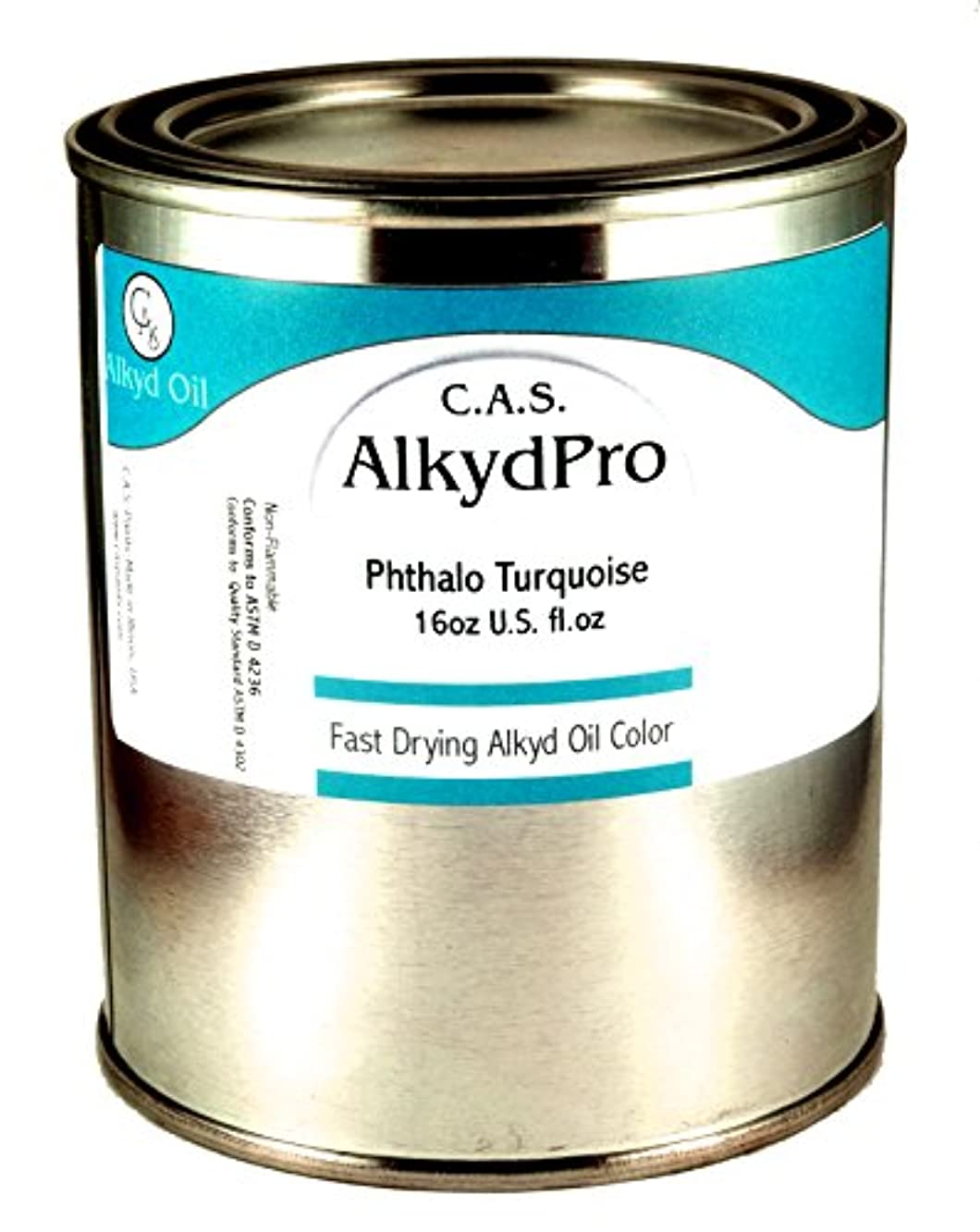 C.A.S. Paints AlkydPro Fast-Drying Oil Color Paint Can, 16-Ounce, Phthalo Turquoise