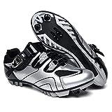 HONG YU Zapatos de MTB Hombres Deporte al Aire Libre de la Bicicleta Zapatos de autobloqueo Profesional Que compite con la Bici del Camino (Color : Silver, Shoe Size : 11)